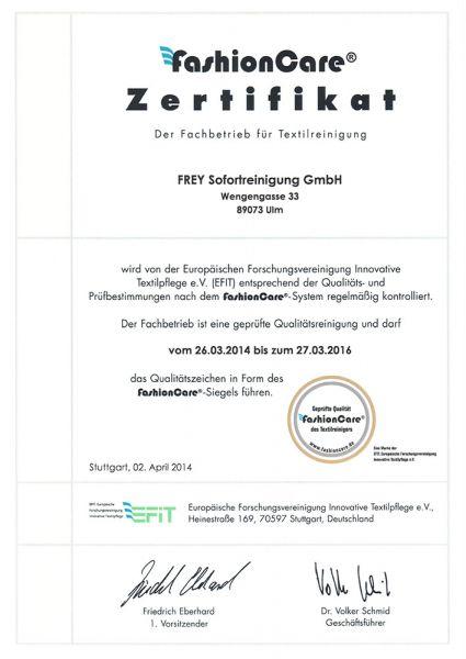 Zertifikate - Frey Sofortreinigung